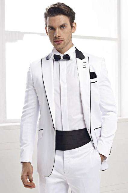 2015 Trim Fit White Men Blazers With Black Peaked Lapel Tuxedos One