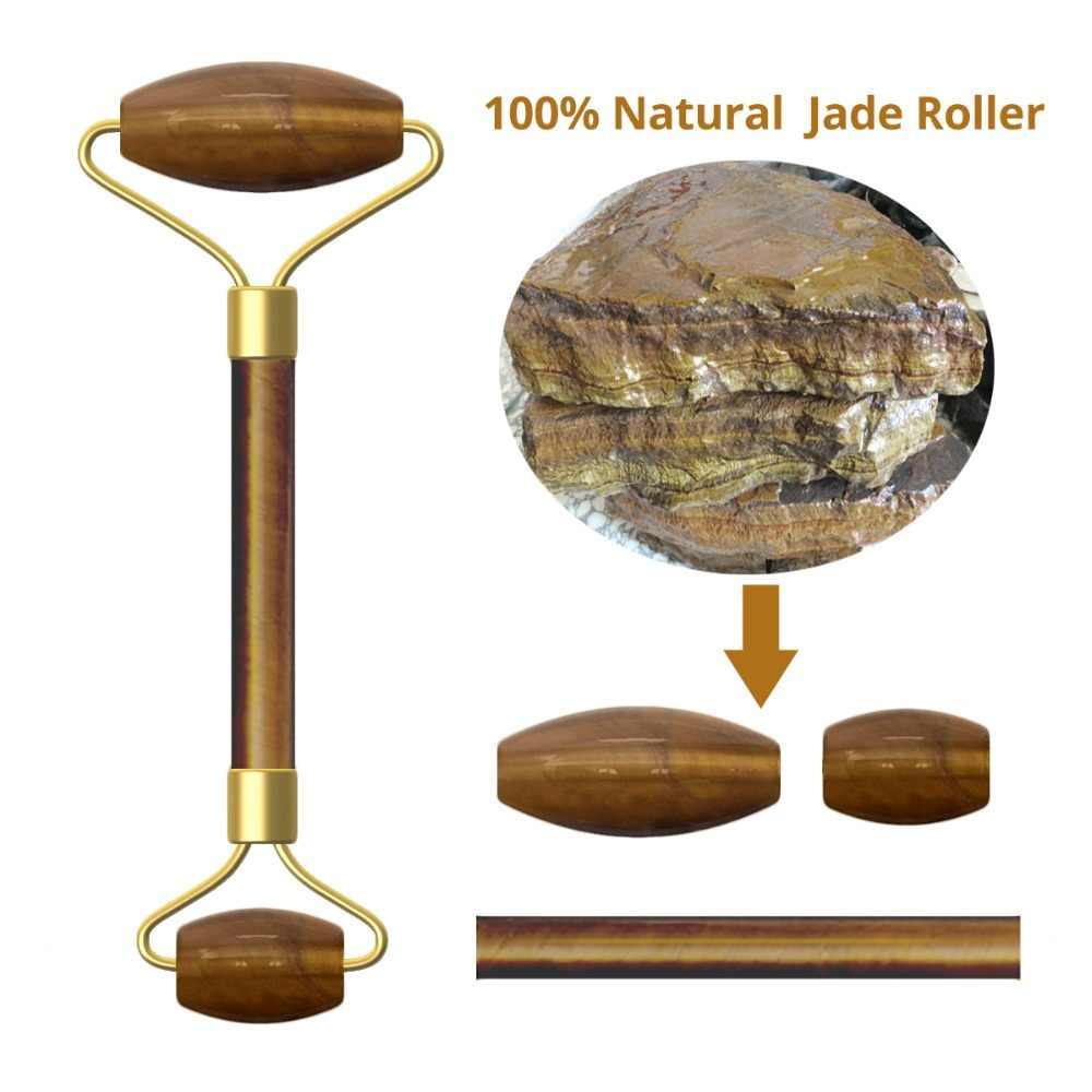 Rose Quartz Roller Afslanken Gezicht Massager Lifting Tool Natuursteen Facial Massage Groene Jade Roller met Doos Huid Massage