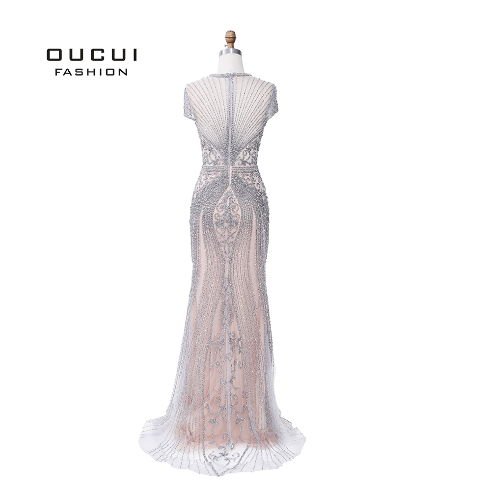 Image 4 - 2019 Luxury Diamond Sleeveless Nude Mermaid Long Sexy Evening Pageant Dresses Formal Gown Robe De Soiree Dubai Design OL103466-in Evening Dresses from Weddings & Events