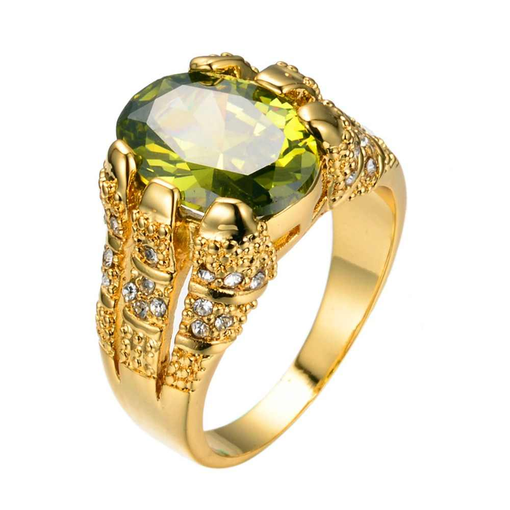 새로운 패션 남성 페리도트 타원형 손가락 반지 럭셔리 빅 크리스탈 지르콘 스톤 링 14KT 옐로우 골드 약속 약혼 반지 남성용