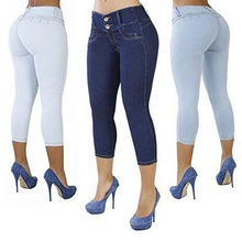 Plus Size Casual Solid Button Fly Waist Cropped Jeans Pockets Women Sexy Elastic High Denim Pants Slim Trousers