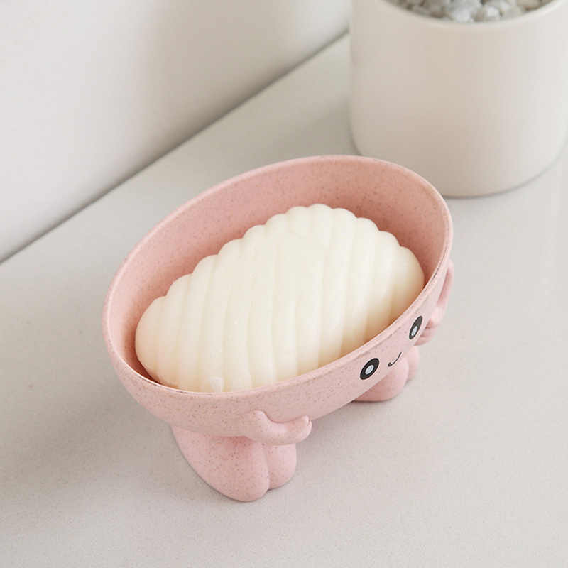 Doces cores dos desenhos animados forma caixa de sabão com capa drenagem prático fácil limpo sabão titular saboneteira do banheiro gadgets