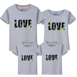 High quality family t shirts cotton casual matching family clothes letters print mom dad son daughter.jpg 250x250