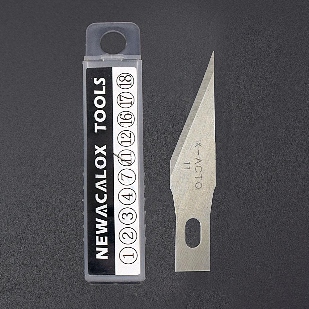 NEWACALOX 20PCS Hoja de acero inoxidable para películas de teléfonos móviles Herramientas Cortador Manualidades Cuchillo de hobby Escalpelo Tallado en madera Reparación de PCB