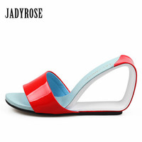 Jady Rose New Designer Summer Sandals Fashion Wedge Real Leather Shoes Women Gladiator High Heel Slippers