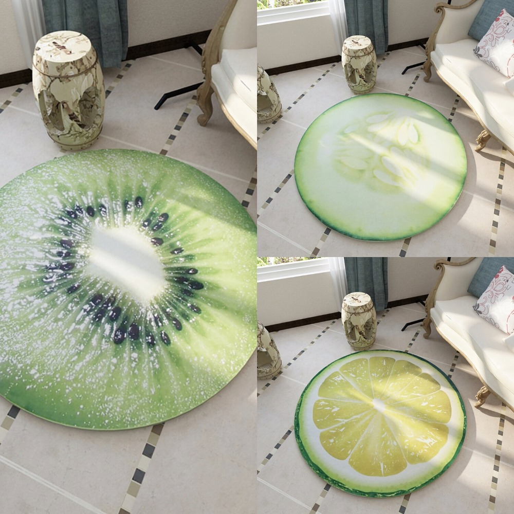 Round Carpet 3D Print Earth Fruit Soft Carpets Anti-slip Rugs Computer Chair Mat Floor Mat for Kids Room Home Decor 60-200cm