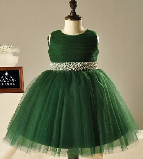 Beautiful Green Flower Dresses With Beaded Sashes Fashionable Mid Calf Mother Daughter Matching Gowns
