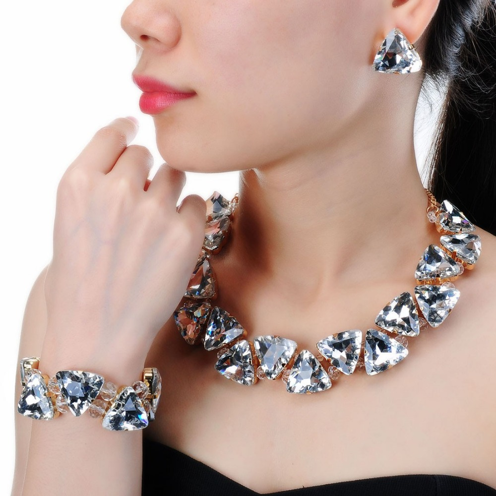 Jerollin Fashion Jewelry Set Alloy Chain 4 Colors Triangular Glasses Statment Choker Necklace Earrings Bracelet Set cross alloy choker necklace
