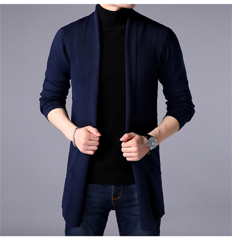 Mens Clothing Sweater Coat 2019 Spring Sweater Coat Long-sleeved Cardigan Thin Sweater Long Section Of Large Size Men's Coat