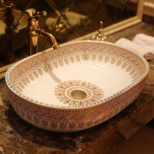 Oval Jingdezhen Bathroom Ceramic Sink Wash Basin Porcelain