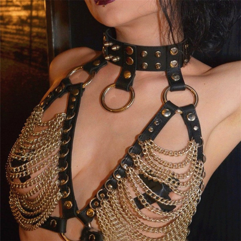 Sexy Black Faux Leather Body Harness Metal Drape Chain Bra Crop Top Tank Vest Night Club Steampunk Gothic Costume Backless Top