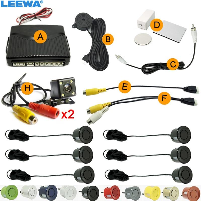 LEEWA Car 6-Sensors Parking Sensor with 2pcs CCD 4-LED Camera Dual Visual Rear View Video Backup Radar System  #CA1967 thyssen parts leveling sensor yg 39g1k door zone switch leveling photoelectric sensors