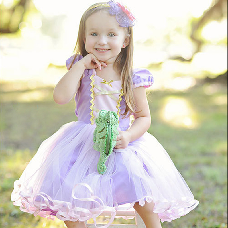 Baby Girls Party Princess Cosplay Dresses New Kids Rapunzel Tutu Dress for girl wedding Birthday Carnival Costumes 2 3 4 <font><b>5</b></font> 6Year image