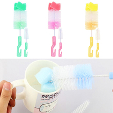 2pcs/set Baby Bottle Brush Sponge Cup Brush Kit  Brush 360-degree Rotating Head Cleaning Random Color sponge brush head black