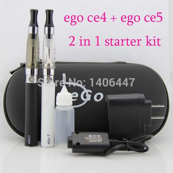 Я ce4 и ce5 двойной комплект электронных сигарет 2 в 1 эго ce4 ce5 эго starter kit в одном молния случае ЭГО Электронная Сигарета