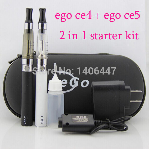 Ego ce4 and ce5 double kit electronic cigarette 2 in 1 ego ce4 ce5 ego starter kit in one zipper case EGO E Cigarette ce4 e ego t 650mah 900mah 1100mah ce4 ce4 kits