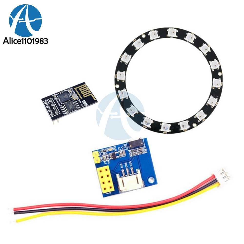 ESP8266 ESP-01 ESP-01S RGB LED Controller Adpater WIFI Module for Arduino  IDE WS2812 WS2812B 16 Bits Light Ring Christmas DIY