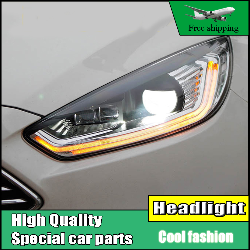 Car styling Head Lamp Case For Ford Focus MK3 2015-2017 Headlights LED Headlight DRL Lens Double Beam Bi-Xenon HID Accessories led headlight drl lens double beam bi xenon hid projector lamp rh lh for ford focus 2015 2016 2017 d2h 5000k 35w hi low beam