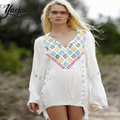 2017 Fashion Chiffon shirt beach ethnic embroidery deep V collar blouse embroidery romantic Lantern Sleeve Flare sleeve Jacket