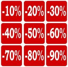51x51mm 10 to 90 OFF DISCOUNT paper label sticker for shop sales, 1000 pcs/lot, Item No. PD09