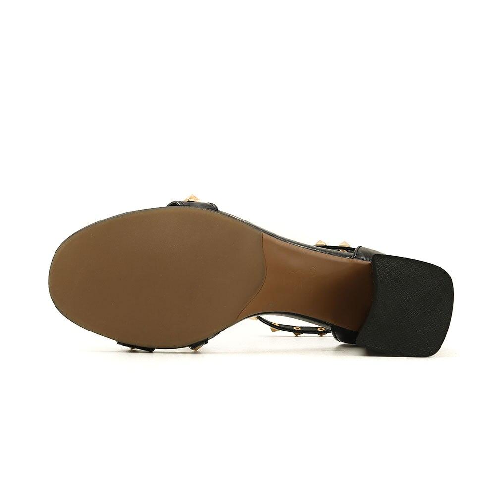 Sandalias De Mujer Ol Alto Remaches Genuino Zapatos Marca Cuero Sarairis  Nueva Oveja Verano Cuadrado correa ... 86ab5829bbbd