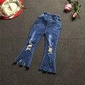 Оптовая 2017 весна осень детские Дети Девушки кисточка отверстие джинсы