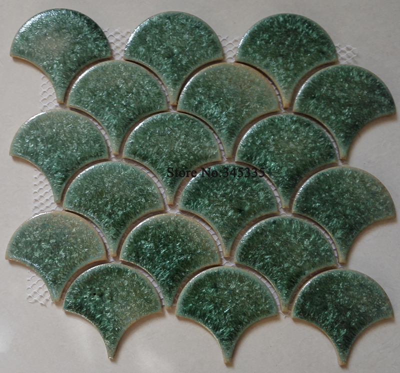 New fish scale green ceramic mosaic tile kitchen backsplash bathroom wallpaper background wall tiles fan shower porcelain indoor