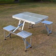 طاولة قابلة للطي للحديقة والتخييم والتنزه ، طاولة واحدة بأربعة مقاعد