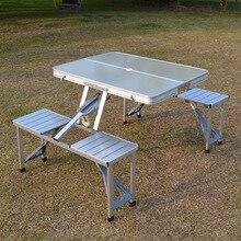ポータブルキャンプピクニックガーデンテーブル椅子セット 1 テーブル 4 席