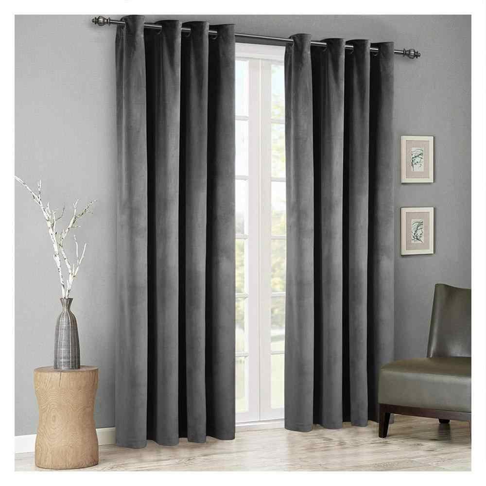 Modern Solid Velvet Blackout Curtains For Living Room Bedroom Soft