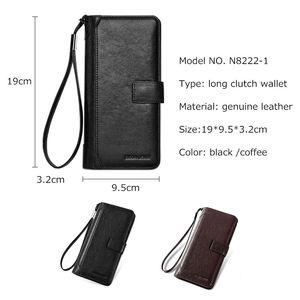 Image 2 - Мужской Длинный кошелек из натуральной кожи BISON DENIM, деловой кошелек на молнии с карманом, роскошный фирменный дизайн, удобный клатч, N8222 1