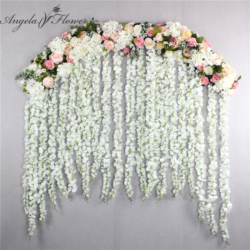 2M luxury wedding Road cited flowers rose peony hydrangea mix DIY arched door Flower Row Window