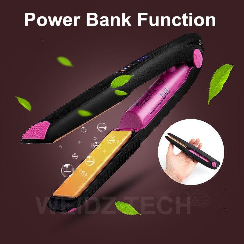 2017 New Power Bank Hair Straightener Portable Mini Wireless Cordless Hair Flat Iron Styling Hair Curl