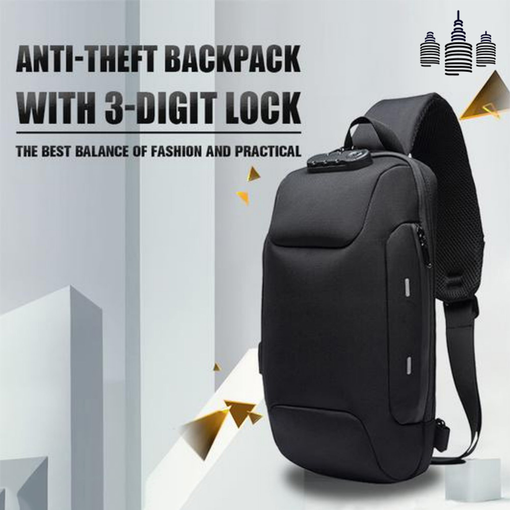 Anti-theft Backpack With 3-Digit Lock Shoulder Bag Waterproof For Mobile Phone Travel LXX9