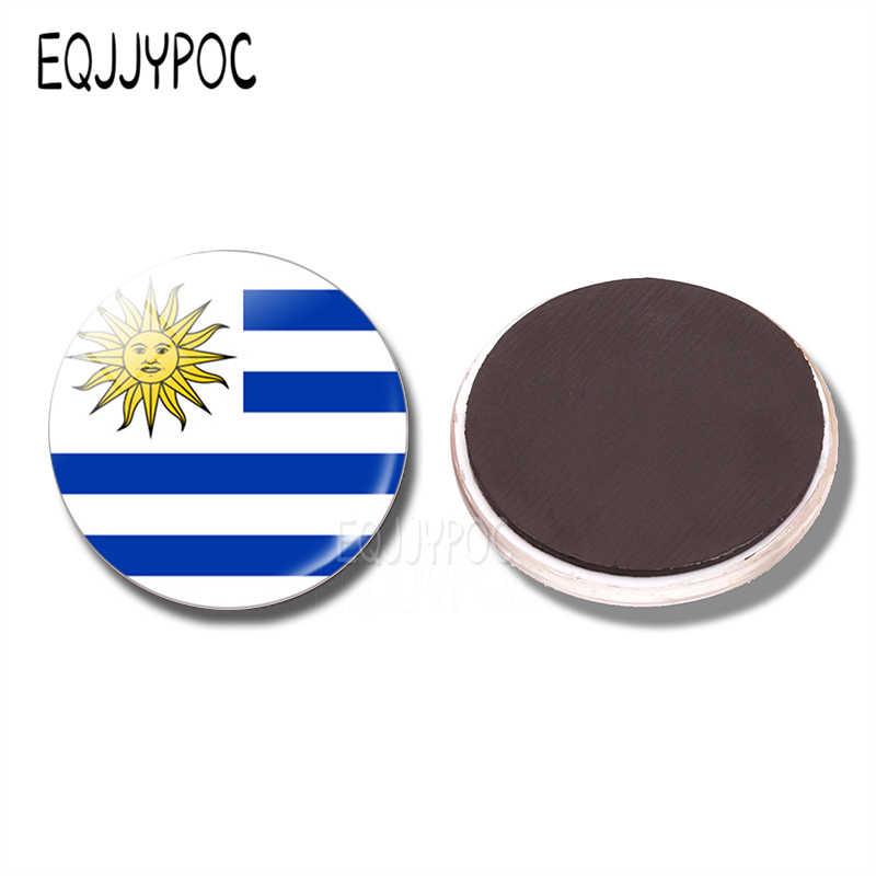 Uruguay Quốc Kỳ Và Bản Đồ 30 Mm Tủ Lạnh Nam Châm Lá Cờ Của Uruguay Kính Từ Tủ Lạnh Miếng Dán Trang Trí Nhà Lưu Niệm