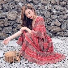 Лето 2018 Для женщин в богемном стиле с цветочным принтом платье макси красное шифоновое пляжное платье v-образным вырезом длинное платье 4XL большой Размеры Винтаж Vestidos