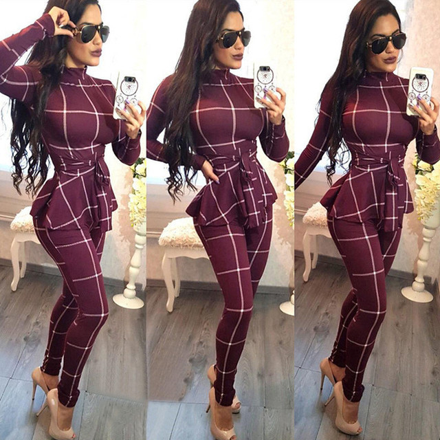 3bceb420c7e Plaid Print Bodycon Jumpsuit Women Turtleneck Long Sleeve Peplum One Piece  Overalls Skinny Party Casual Romper Catsuit Sashes
