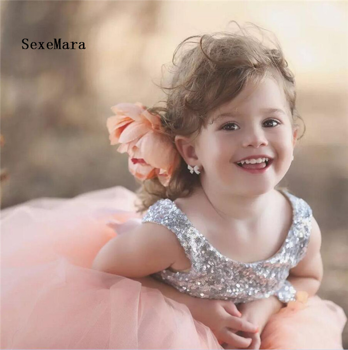 Silver Sequins Cute Little Flower Girl Dress Floor Length with Bow Kids Prom Dress Baby Girls Birthday Dresses Custom Any Size cute kids baby girls embroidered my little black letter bow bodysuit jumpsuits