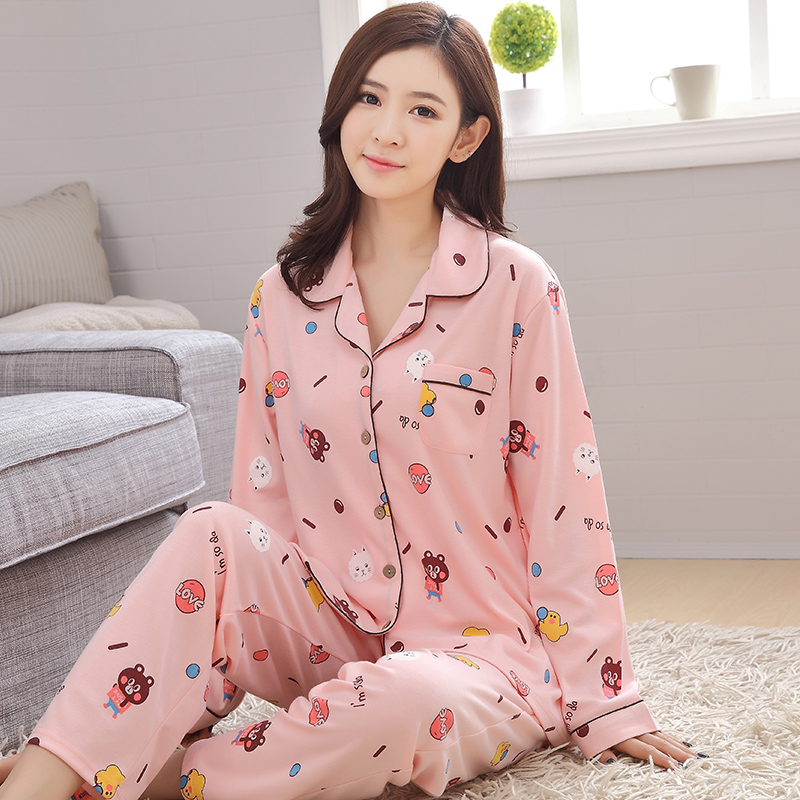 2018 Bear Nightgowns Woman Girl Cotton Pajamas Sets Casual Sleepwear Long Sleeve Pants M-3xl Sleepwear Pyjamas Sets Plus size
