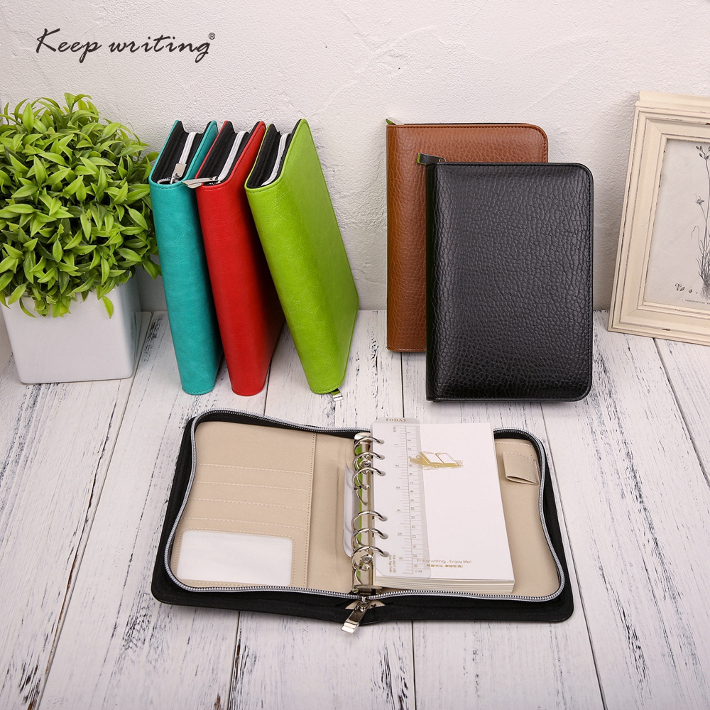A6 Business Notebook Zipper Bag BOOK PU Leather Notepad Organizer Planner 90 sheets filler paper stationery Logo Customized calendar 2017 a5 calendar handbook of efficiency for industry and commerce business notepad log can be customized logo