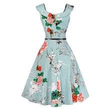 Kostlich Floral Print Women Summer Dress Hepburn 50s 60s Vintage Dress Women 2018 A-Line Party Dresses With Belt Sundress Female