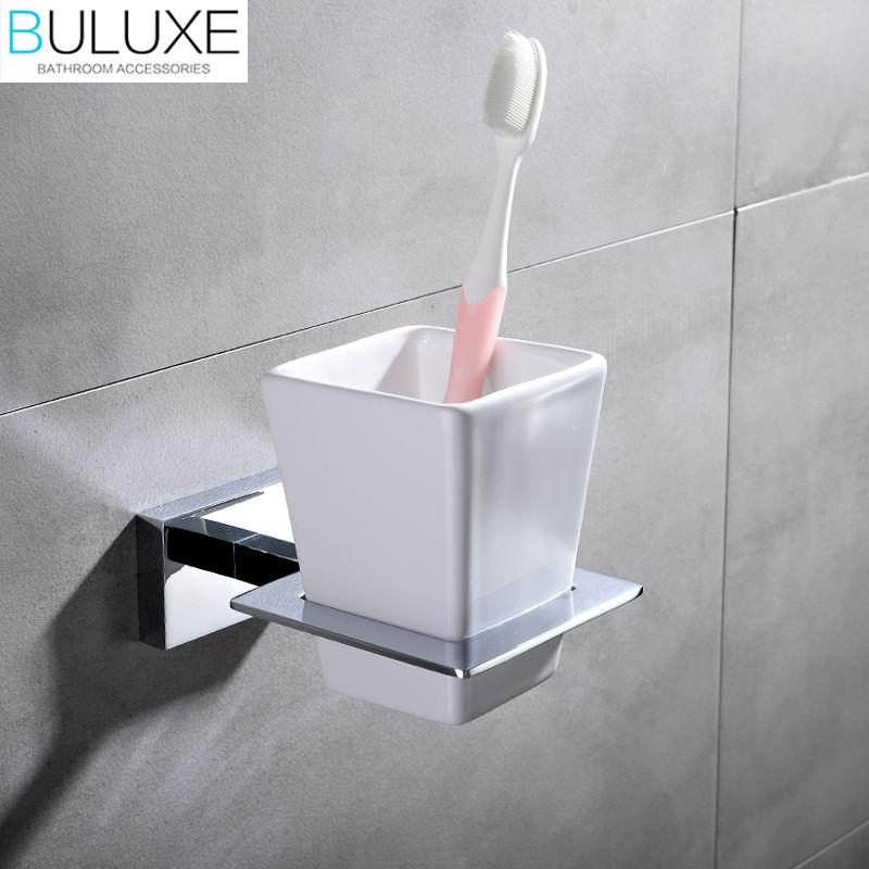 ФОТО BULUXE Brass Bathroom Accessories Toothbrush Holder Wall Mounted Bath Acessorios de banheiro Cup Holder HP7754
