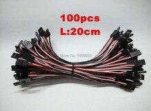 100 pçs/lote 20 cm Macho para Macho JR Plug Servo Extensão Chumbo Cable 200 milímetros 3 pin JST RE conector em ambas as extremidades