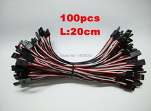 100pcs/lot 20cm Male to Male JR Plug Servo Extension Lead Wire Cable 200mm 3 pin JST RE connector on both ends