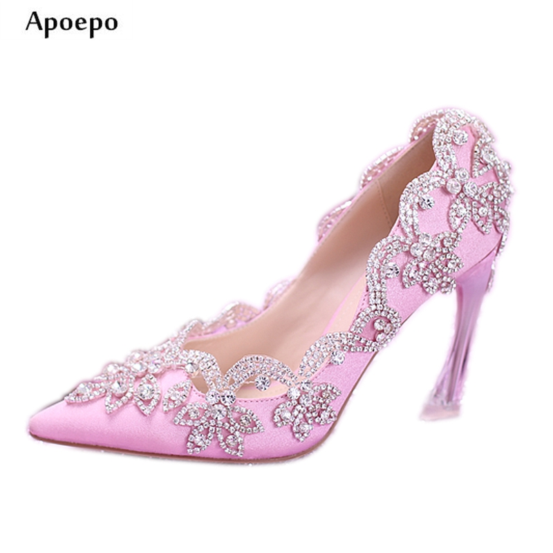 Apoepo Fashion Pink Satin High Heel Shoes 2018 Pointed Toe Crystal Embellished Wedding Heels Slip-on Thin Heels Pumps Woman Shoe brand shoes woman spring summer rainbow women pumps high heels fashion sexy slip on pointed toe thin heel party wedding shoes