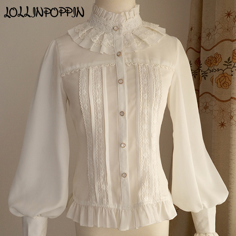 Ladies Lolita Chiffon Blouse Stand Collar Royal Style Womens Puff Sleeve Lolita Shirt Long Sleeves Ruffled Lace Blouses
