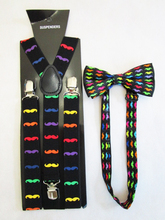 Free Shipping 2018 New Fashion Adjustable Women Colorful Mustache Printed Braces And Bow Ties Sets For Mens