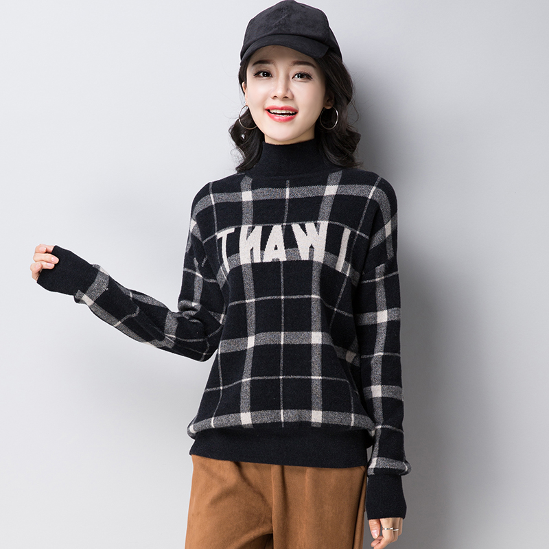 Autumn Winter Ladies High Collar Knitted Cashmere Sweater Pullover Sweater Female 2018 Fashion Loose Letters Thick Sweater NO342