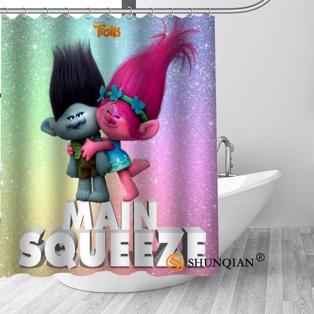 Custom Shower Curtain With Hooks Trolls Bathroom Curtains High Quality Polyester Bath Home Hotel Decoration