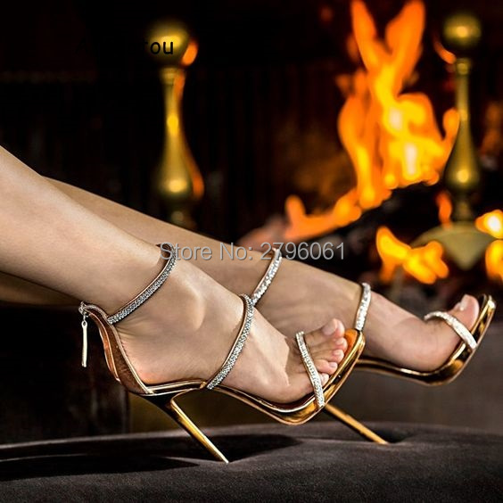 Sexy gold high heels tringle open toe ankle strap heels sandals beautiful women pumps stilettos sparkle rhinestone pumps shoes new ankle strap open toe high heels sexy ladies shoe women summer gold silver black sequins leather sexy sandals shoes smybk 022